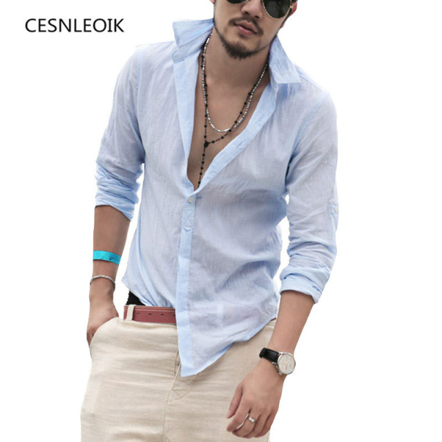 a89020a88e5d8 Plus Size Shirts Cotton Linen Men Shirt Long Sleeve Summer Style Hawaiian  Shirts Sexy Slim Fit Men Clothes New Arrival C01