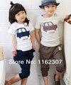 O envio gratuito de verão crianças conjuntos de roupas de bebê menino menina se adapte às manga curta T shirt + calças