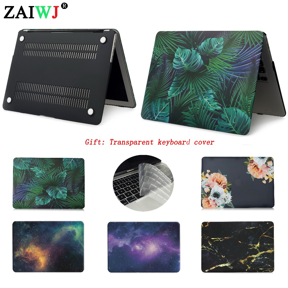 ZAIWJ New 2018 Laptop Case For MacBook Air Retina Pro 11 12 13 15 For Mac Book New Pro 13 15 Inch With Touch Bar + Keypad Cover