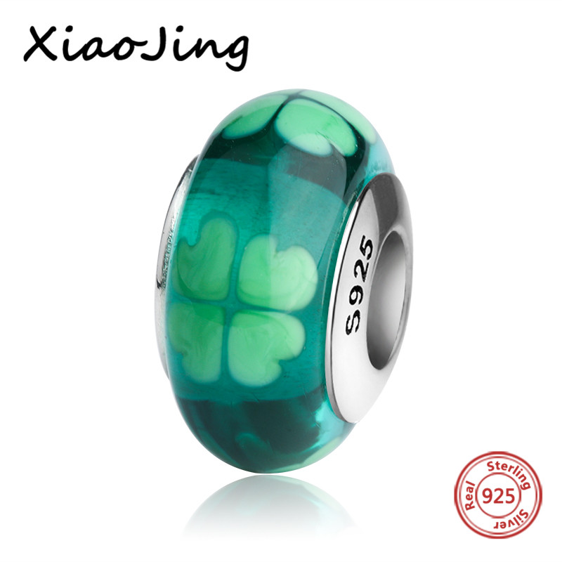 New design green four leaf clover Murano glass beads diy charms 925 sterling silver fit authentic pandora bracelet jewelry gifts