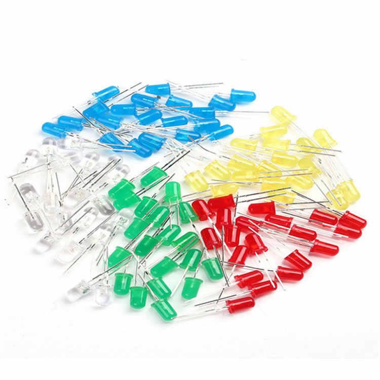 100 unidades/pacote 5mm led diodo luz sortidas kit diy leds conjunto branco amarelo vermelho verde azul eletrônico diy kit