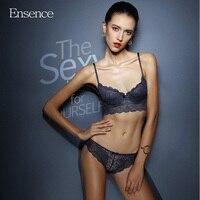 Ensence Women Super Thin Lace Sexy Transparent Beauty Bra Sets Girls Deep V Push Up Underwear
