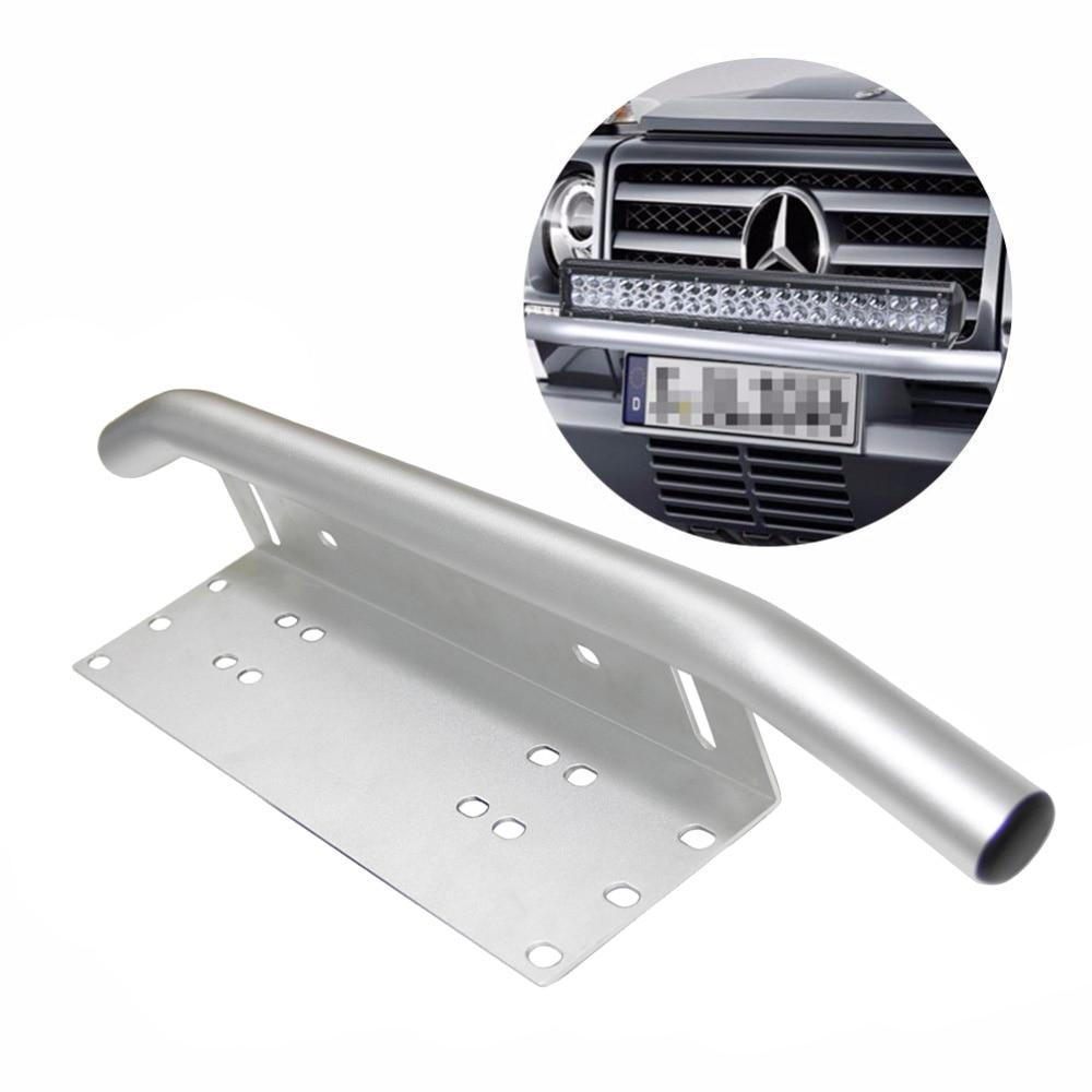 Chrome License Plate Holder bracket Light Bar Mount Front Bumper For Offroad LED Day Light Bar, Suitable Most Vehicles