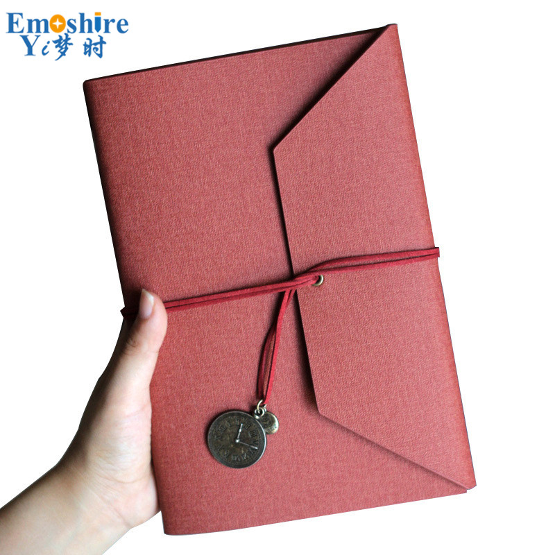 A5 Creative Tri-fold Straps Loose-leaf Detachable Hand Book Simple Diary Book Cotton Linen PU Leather Literary Notebook N175 mirui small fresh loose leaf notebook korea simple b5 coil detachable refill student notebook a5 book a4