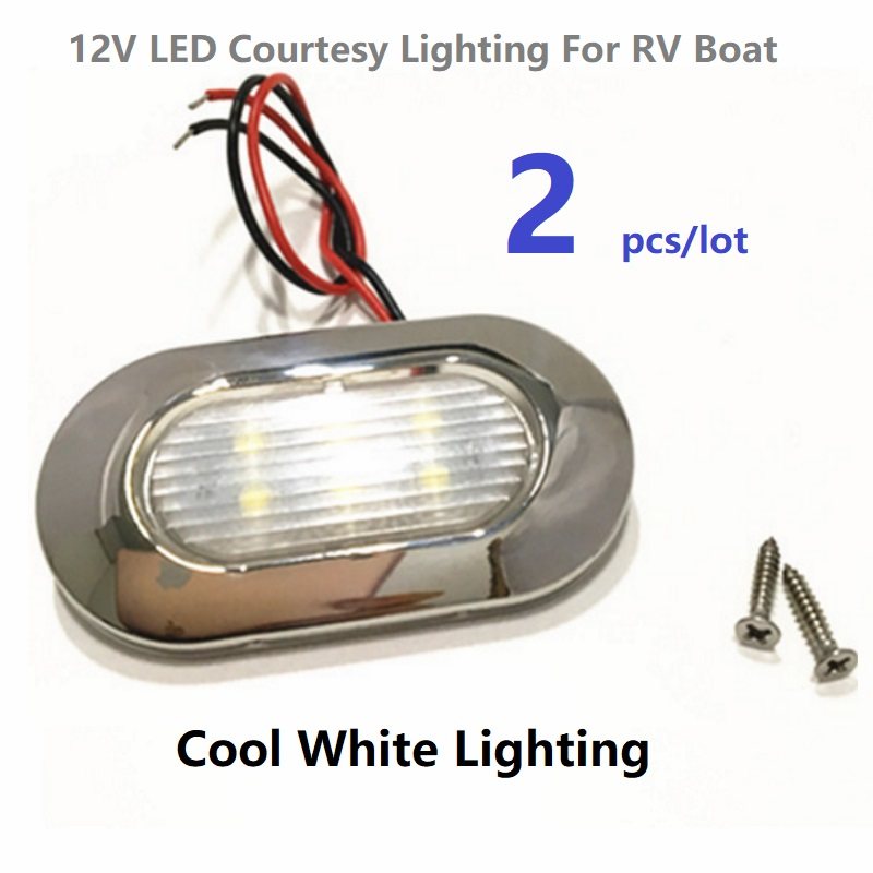 2x12V DC LED Courtesy Lights Cool White Waterproof Garden Accent Deck/Step Lamps /RV/Caravan/Camper/Boat/Yacht/Marine Stainless(China)