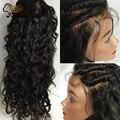 Brasileira Onda de Água Cheia Do Laço Perucas de Cabelo Humano Para A Mulher Preta Parte Dianteira do laço Perucas de Cabelo Humano Com o Cabelo Do Bebê Sem Cola Cheia Do Laço perucas