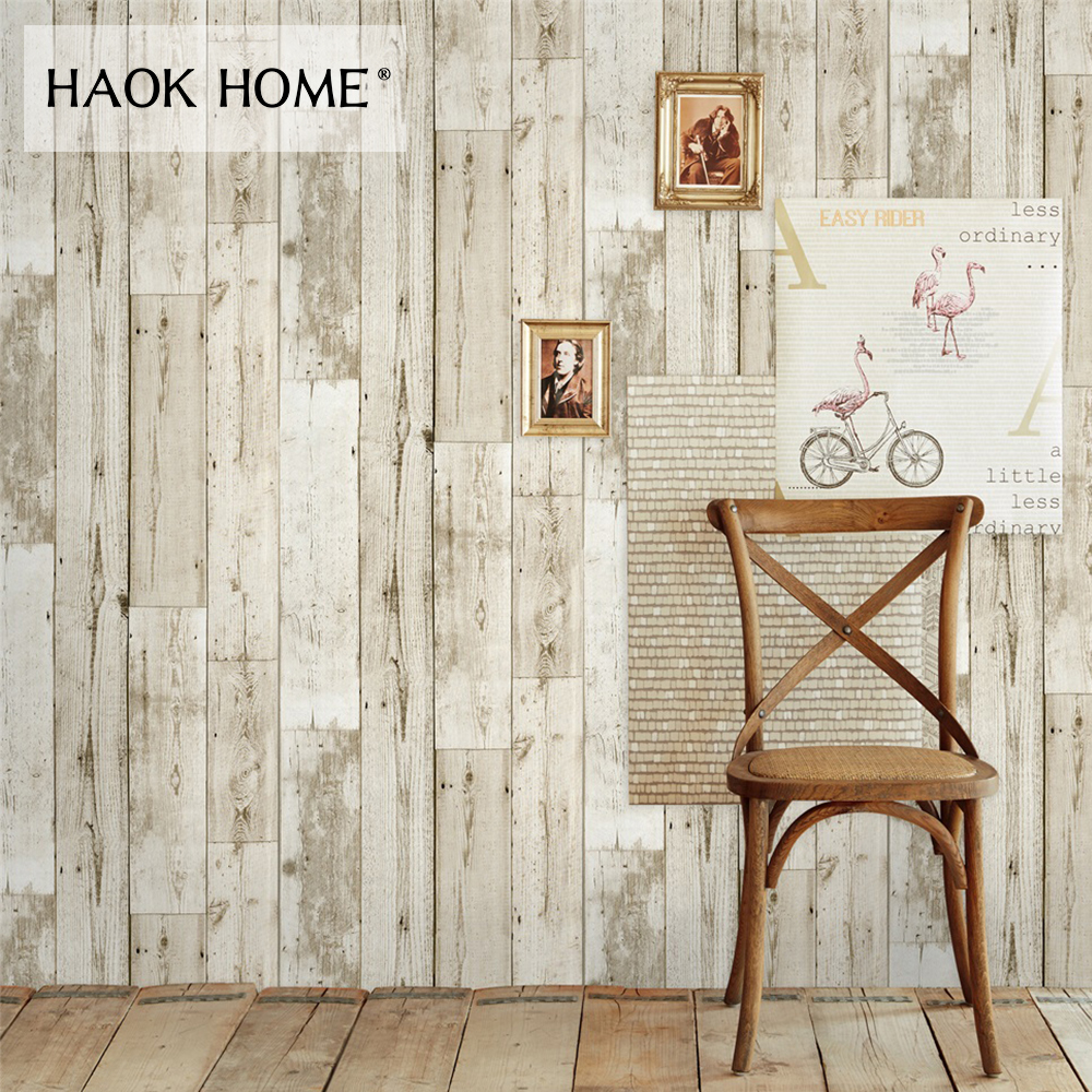 HaokHome 3d Vintage Faux Wood Panel Wallpaper Rolls self adhesive StickerBrown Contact paper Bedroom Living room Wall Decoration free shipping marble texture parquet flooring 3d floor home decoration self adhesive mural baby room bedroom wallpaper mural