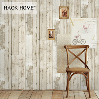 HaokHome 3d Vintage Faux Wood Panel Wallpaper Rolls self adhesive StickerBrown Contact paper Bedroom Living room Wall Decoration