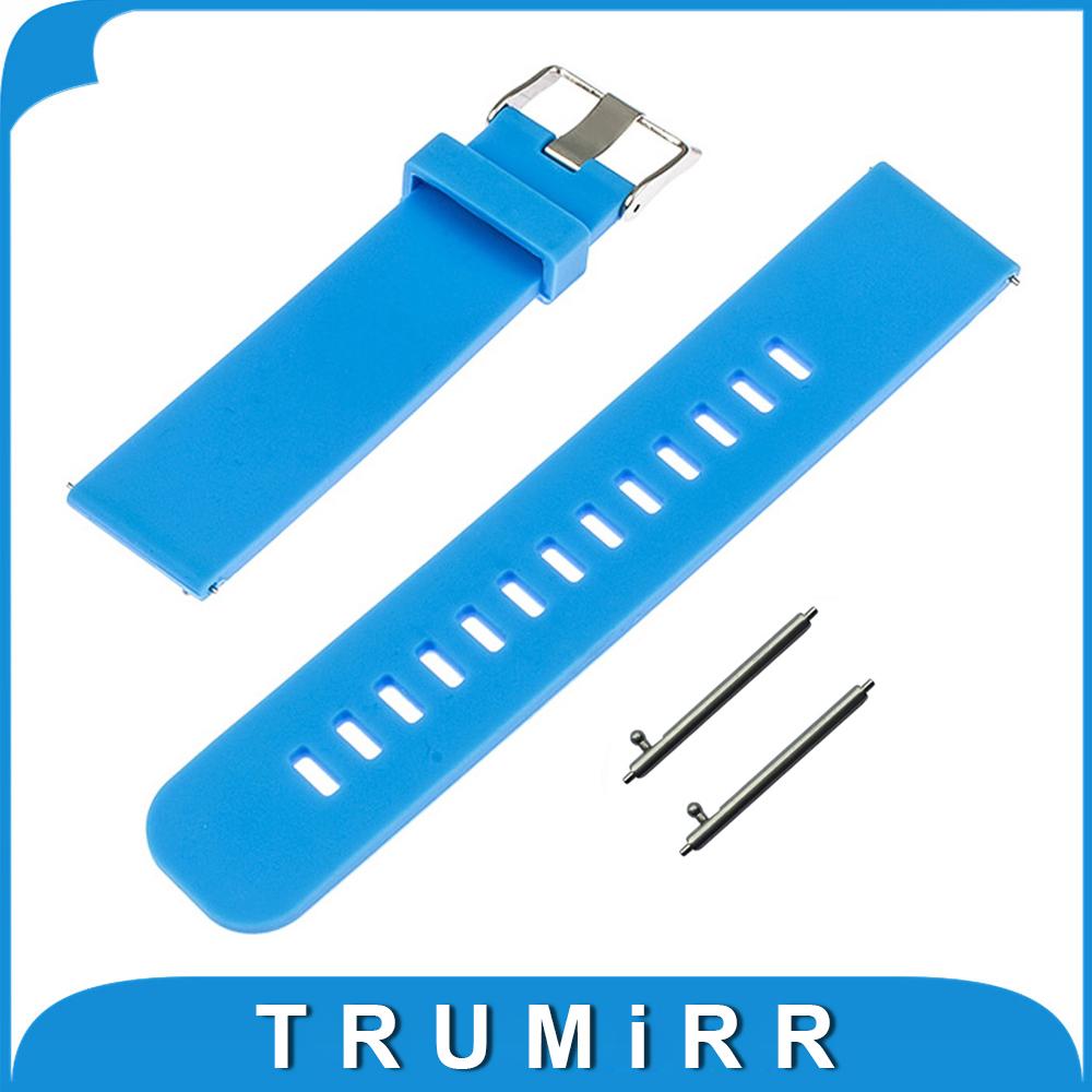 Prix pour 22mm Libération Rapide Bande De Caoutchouc De Silicone pour LG G Watch W100/RW110/Urbain W150 Asus Zenwatch 1 2 Pebble Temps Bracelet Bracelet
