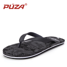 PUZA Brand Beach Casual Slippers Mens Flip Flops Summer Sandals Men Sandalias Playa Hombre Sandales Homme Black Big Size 44 45