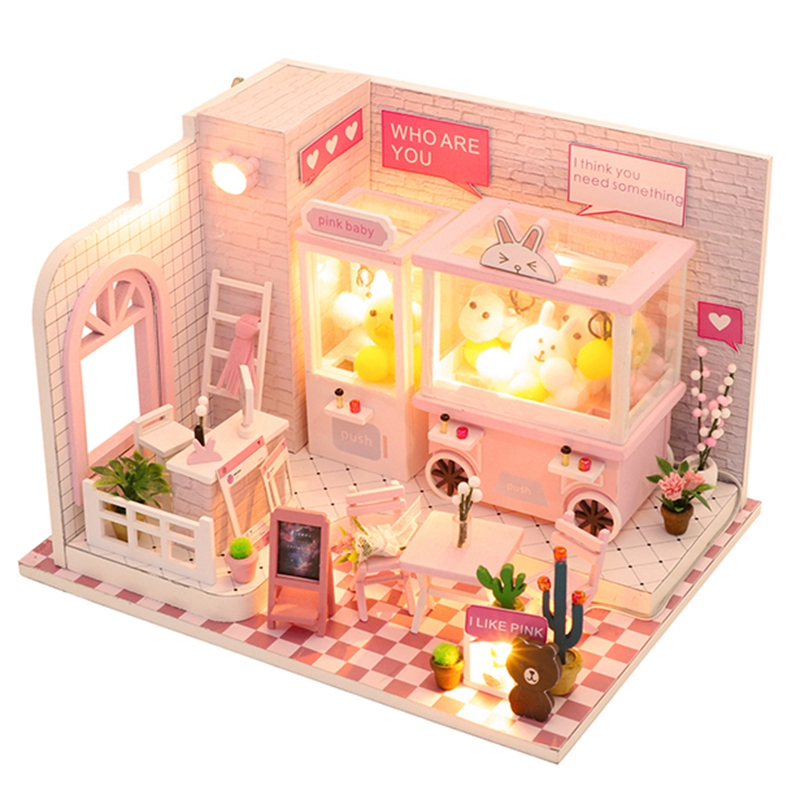Doll House Miniature Dollhouse with Furniture Kit Wooden House Miniature Toys for Children New Year Christmas Gift C009 in Doll Houses from Toys Hobbies