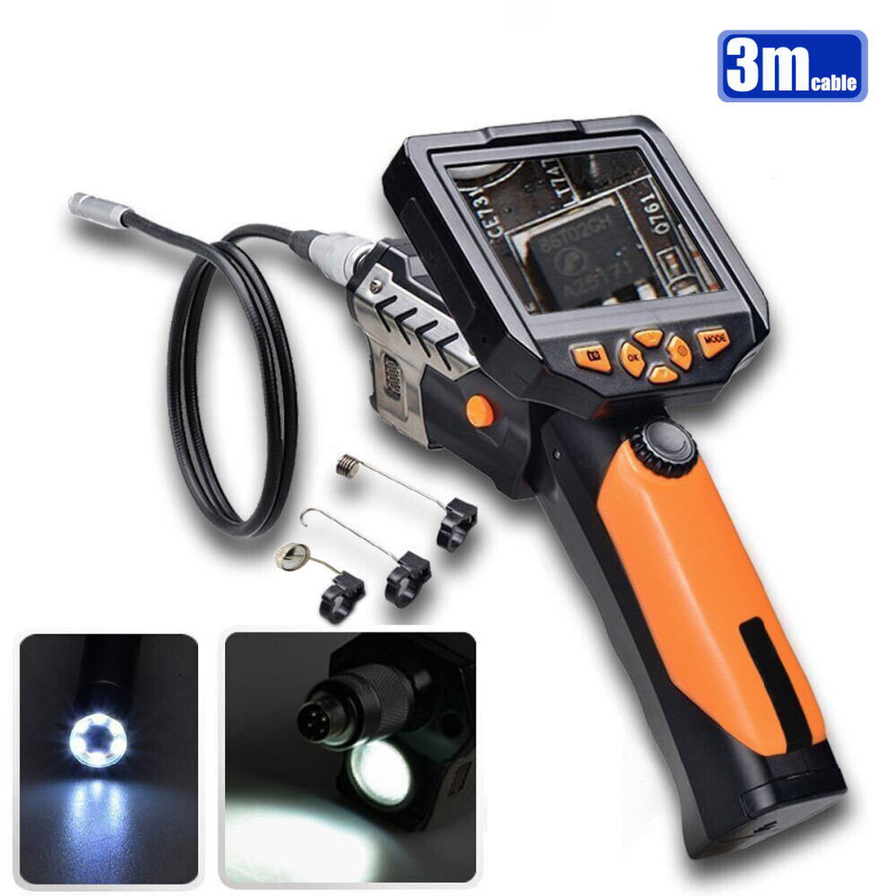 3.5 LCD Endoscope Inspection Camera 3M Cable 8.2 mm Lens USB Borescope Camera 4XZoom Snake Camera Industrial Video Endoscope