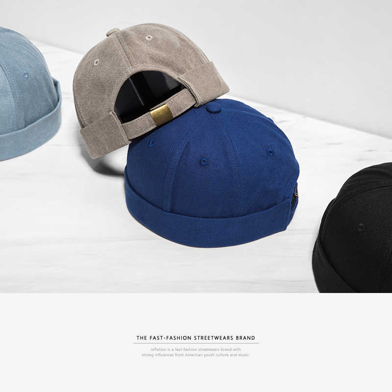 INFLATION 2019 nuevo sombrero redondo estilo chino Unisex Snapback pareja gorras Flanging color sólido moda hombres sombreros 073CI2017