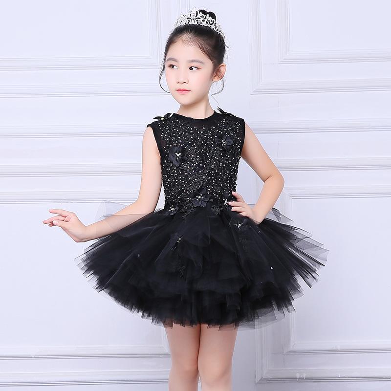 c88edd65d151c Girl Evening Black Dress Model Walk Show Princess Dress Children Drag Tail  Wedding Dress Piano Performance Dress Flower Boy Host. undefined undefined