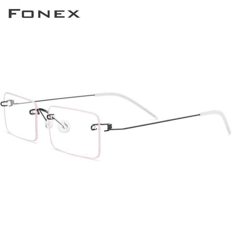 FONEX lunettes sans vis Prescription lunettes femmes 2019 sans monture carré myopie optique coréen titane alliage lunettes cadre hommes - 2
