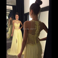 Charming Chiffon Beaded Split O Neck A Line Long Yellow Prom Dresses 2016 Special Occasion Dress