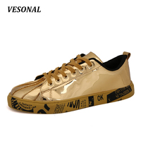 VESONAL Patent Leather Men Casual Shoes Hip Hop Rock Cool Designer Fashion Couples Young Male Footwear Silver Gold Black 558