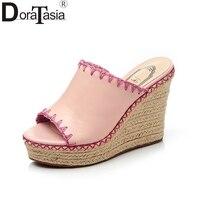 DoraTasia Brand New Cow Genuine Leather Woman Rome Wedges High Heel Women Shoes Platform Summer Sandals