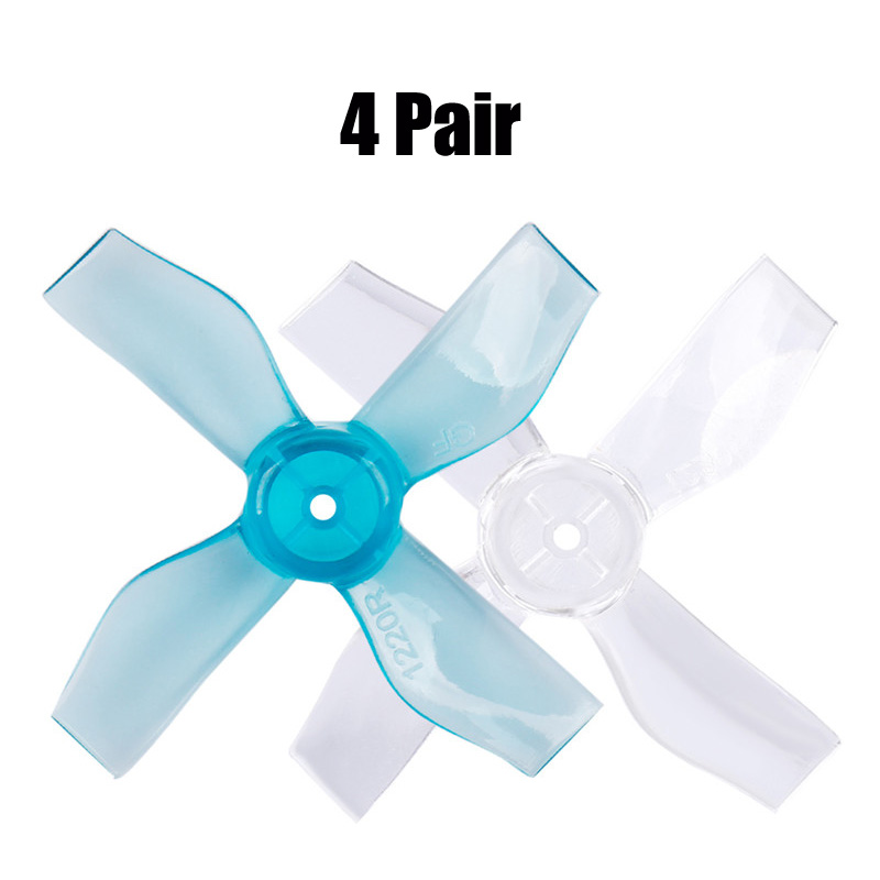4Pair GEMFAN 1219/<font><b>1220</b></font> 3/4 Blade Prop 31mm Transparent PC Propeller 1mm Press Paddle for RC Drone FPV Indoor Brushless <font><b>Motor</b></font> image