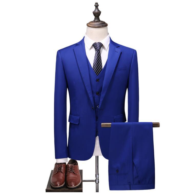 2019 Nieuwe Stijl Blauw Wedding Suits Mannen Casual Blazer mannen Business Party Goede Kwaliteit Prom Kostuums Mannen 3 Stuks jas Broek Vest-in Pakken van Mannenkleding op  Groep 1