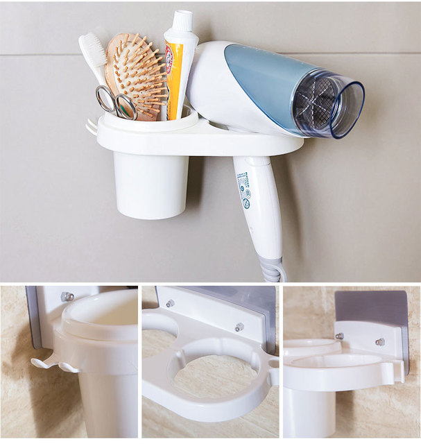 SBLE Plastic Wall Mounted Suction Cup Hair Dryer Holder Comb Rack Stand Set  Bathroom White
