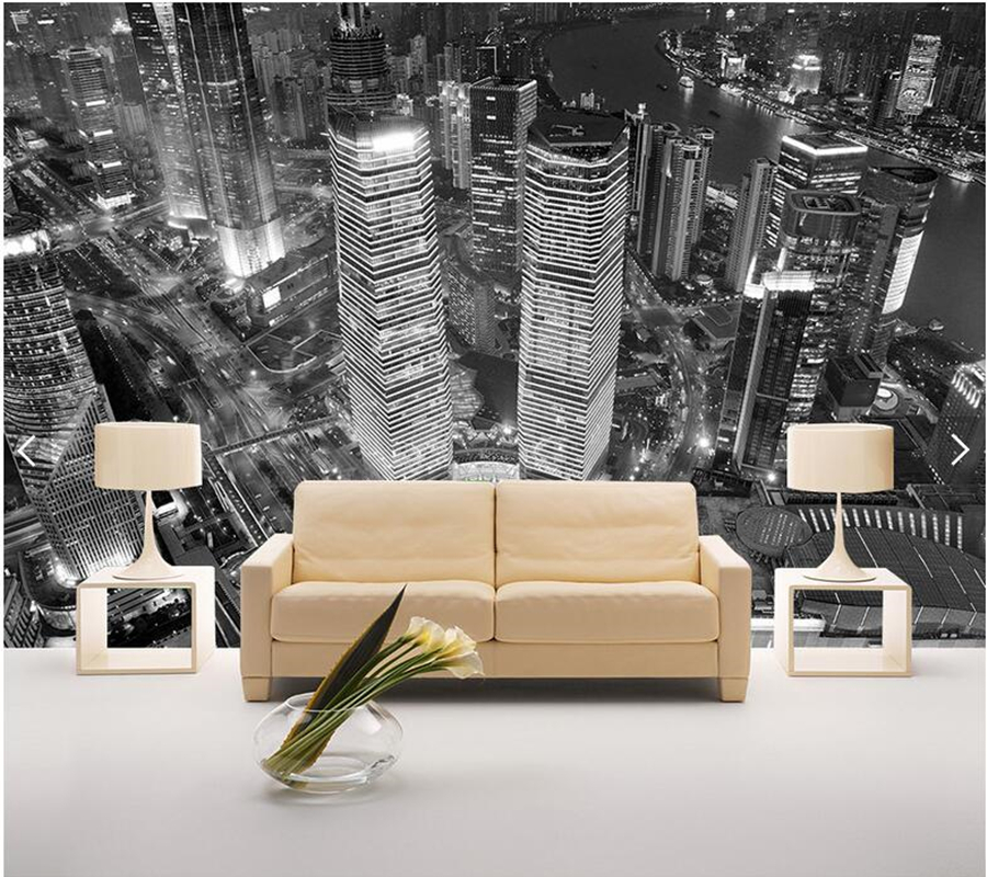 Custom Modern Landscape Wallpaper,New York Architecture Black and White Mural for Living Room Sofa Restaurant Background wall richard rogers architecture a modern view