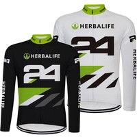 New Black and White HERBALIFE Men Ciclismo Jersey Manga Comprida Alta Qualidade MTB Bicicleta de Estrada Camisa Ropa Roupas Ciclismo Desgasta Ciclismo