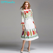 Luxury Runway Women 2017 Fashion Two Piece Set White Long Sleeves Tops And Blouse Shirt + Flower Floral Print Summer Long Skirts
