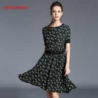 NEW Woman Summer Short Sleeve Silk A Line Dress Fashion Puppy Printed Casual Dress LD