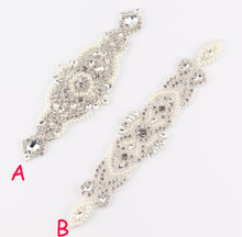 (30pcs lot)Mix 2Style Crystal Pearl Rhinestone Appliques Patch Hot-Fix  Beaded Wedding Applique Bridal Motif Dress Patch 5765b45a8e6f