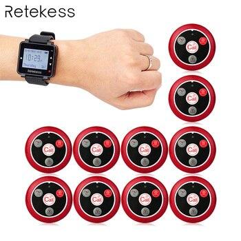 Retekess 433 мГц Беспроводной вызова Системы вызова официанта часы-пейджер приемник T128 + 10 шт. кнопку вызова T117 Ресторан оборудования