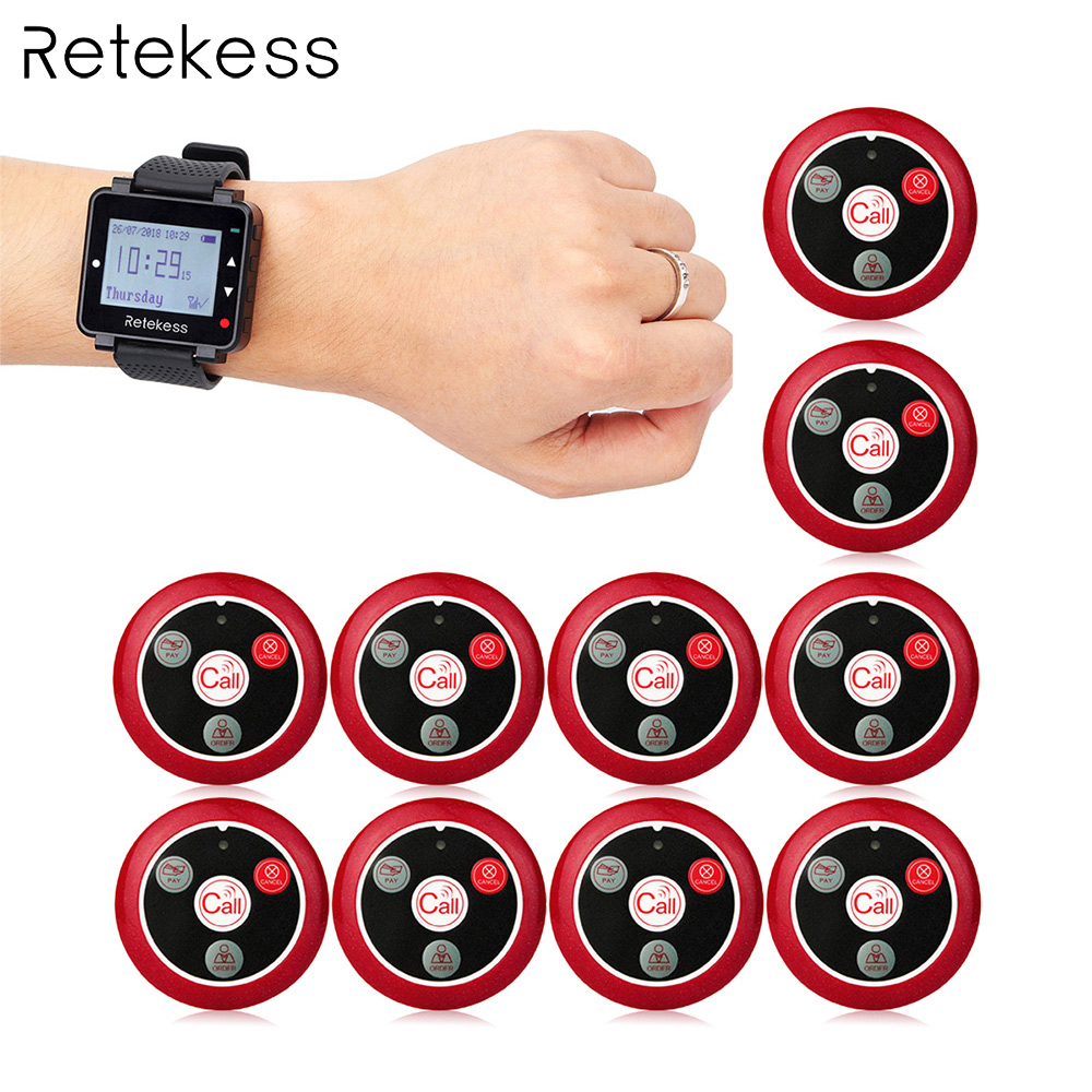 Retekess 433MHz Wireless Calling System Waiter Call Pager Watch Receiver + 10pcs Call Button Restaurant Equipment F9408 wireless restaurant call system restaurant equipment including 999 channel led display receiver with 20 pcs calling button