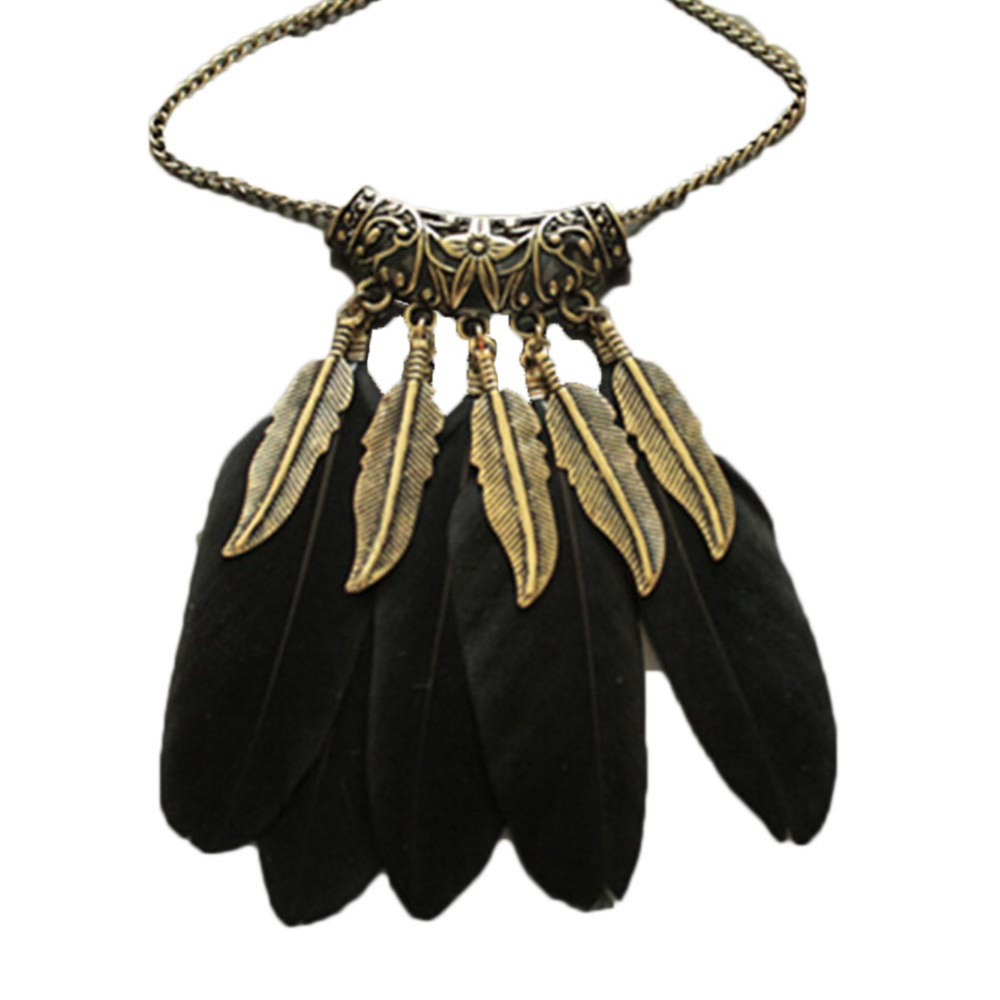 Hot Sale BOHO Ethnic Indian Style Feather Pendant Necklace Vintage Retro Chain Necklace Fashion Pendant