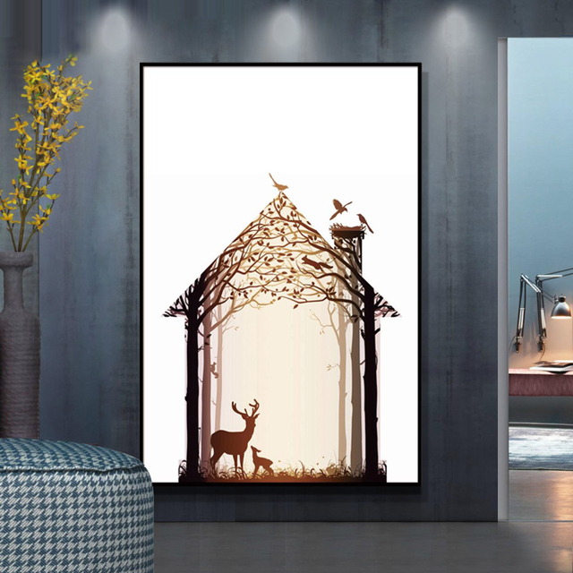 Naturlichen Nordic Abstrakte Reh Familie Wandbilder Wohnzimmer Kunst