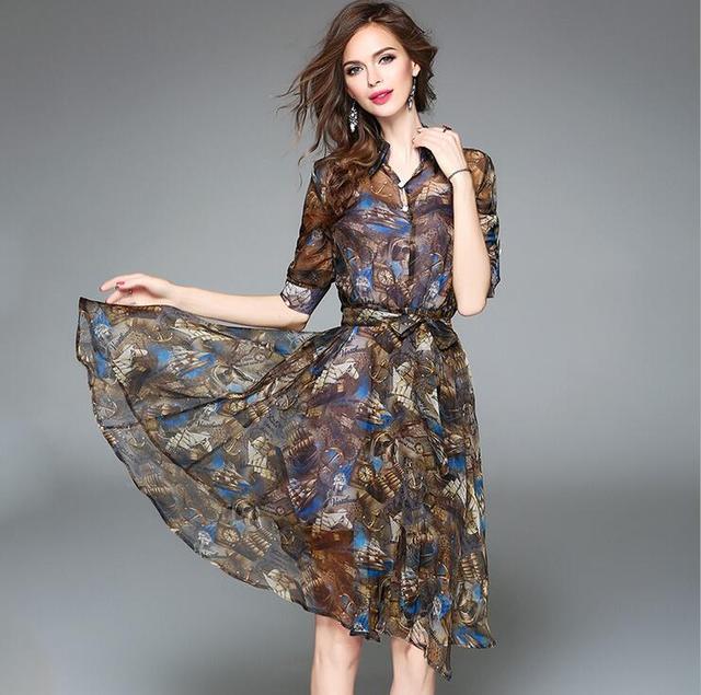 866c0afa0 Vestidos de gasa dress 2017 verano nueva moda europea classic printing una  palabra dress solapa de