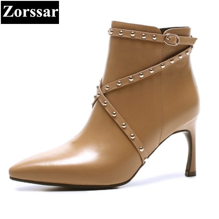 {Zorssar} 2017 NEW winter Womens shoes Genuine Leather pointed Toe thin heels ankle boots High heels fashion rivets women boots zorssar large size women shoes pointed toe thin heel lace up platform ankle motorcycle boots high heels womens boots winter