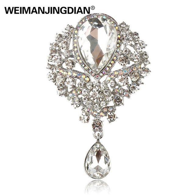 WEIMANJINGDIAN di Marca di Grandi Dimensioni Di Cristallo Diamante Strass A Goccia di Cerimonia Nuziale Spilla Spilli in Colori Assortiti