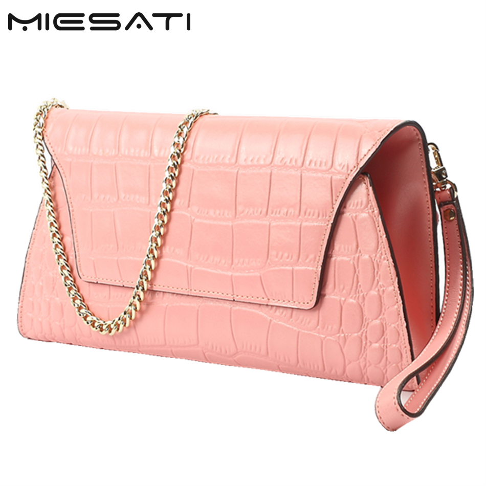 Classic Girl Gift! MIESATI Leather Women Clutch Bags Chain Shoulder Bag Real Cowhide Purse Organizer Evening Party Handbags New rondo 1813 2t odeon light