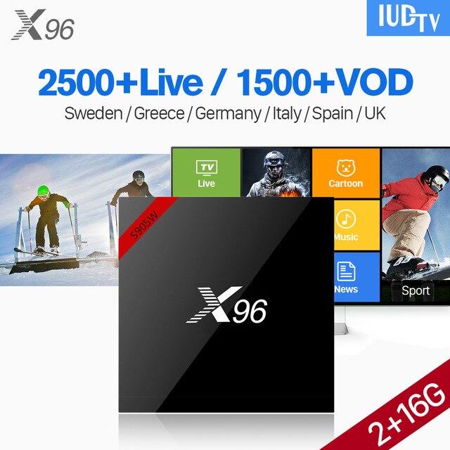 X96 Android 7.1 2G 16G IPTV Box 4K Stable IUDTV IPTV abonnement 2500 chaînes Europe français norvège allemagne espagne suède TV Box