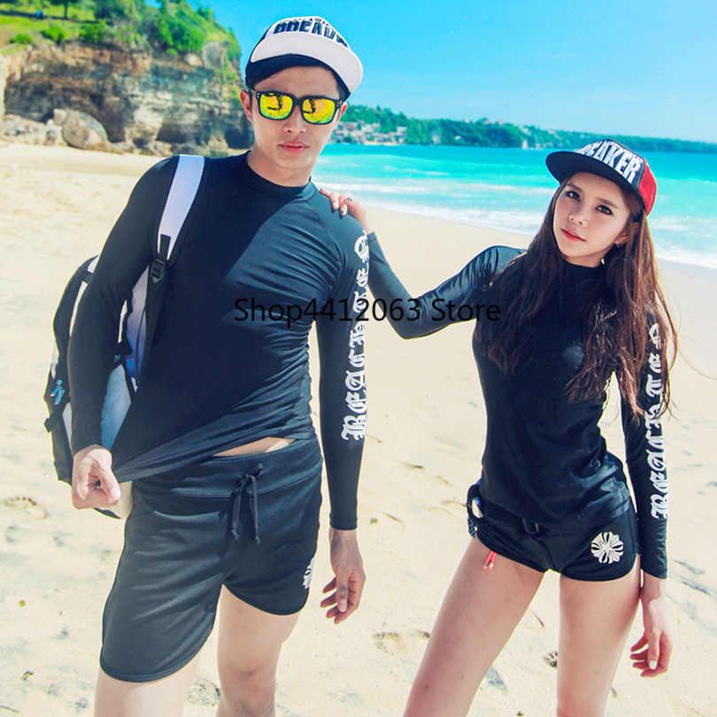 Pasangan Lengan Panjang Baju Renang Wanita Pria Huruf Cetak Serut Celana Pendek Renang Surfing Mandi Menyelam Terusan Baru