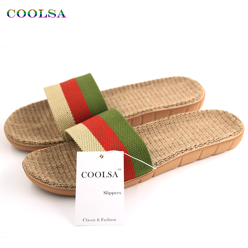 New Arrivals Summer Linen Meeste sussid Brand Flat mittelibisev triibuline kanep Basic slaidid Home Sandals Man Charm Fashion Beach Shoes