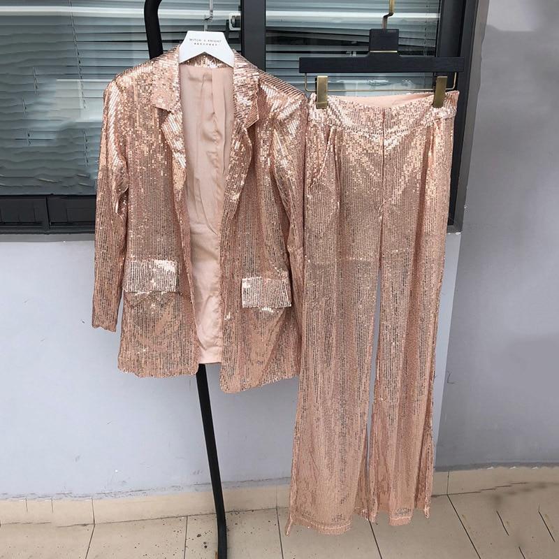 TWOTWINSTYEL Sequins Women's Suits Long Sleeve Blazer Coat Tops Female High Waist Wide Leg Pants Two Piece Set 2019 Summer New