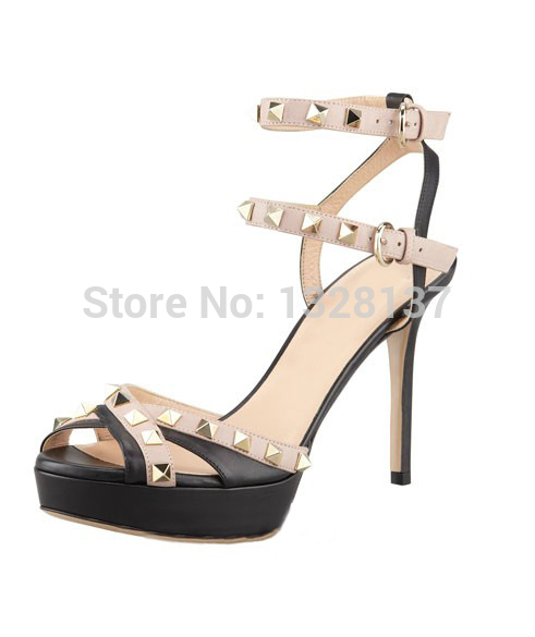 open toe Sandal Cross-Strap Thin High Heel Sandal european shoes Buckle Strap Checkered Leather Fashion summer women high heels