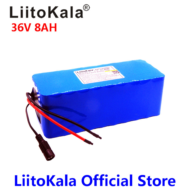 2018 LiitoKala 36V 6ah 8ah 500W 18650 lithium battery 36V 8AH Electric bike battery with PVC case for electric bicycle hot sale bottom discharge electric bike 36v 8ah li ion battery 36v 8ah electric bicycle silver fish battery with charger bms