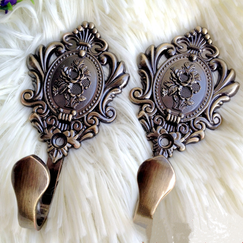 2pcs Vintage Rose flower Wall hook curtain tieback shower curtains buckle clip Clothes hook home hardware accessories