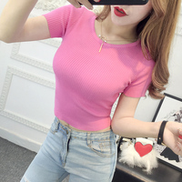 Summer Women Knitting Short Sleeve Cropped T-shirts Solid Crop Tops Girls Knitted Elastic Solid Knitwear Tees Tops FL144