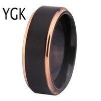Ücretsiz Kargo Ücretsiz Gümrük Gravür 8 MM Siyah Mat Merkezi Gül Altın Adımları Konfor Fit Tasarım erkekler Tungsten Düğün halka