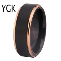 Free Shipping Customs Engraving Hot Sales 8MM Black Matte Center Rose Gold Steps Comfort Fit Design