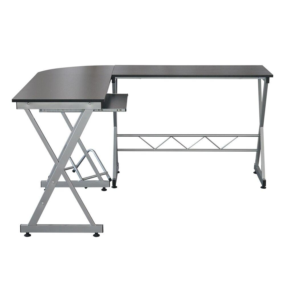 L образный деревянный компьютерный стол угловой стол ноутбук PC стол рабочая станция угловой письменный стол с полками для хранения черный С... - 4