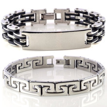 HOT Men Silver Cross Stainless Steel Black Rubber Bracelet Bangle Wristband Cuff Accessories Women Men Jewelry(China)